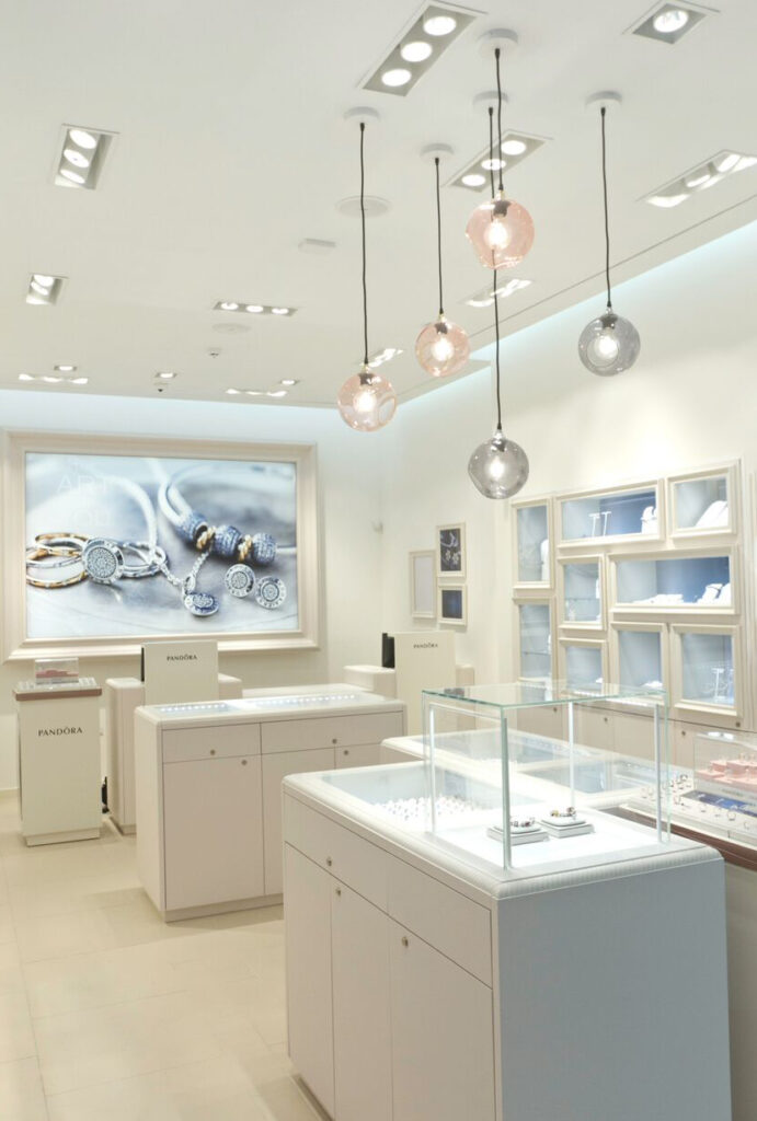 interior fixture installations inside a jewelry store